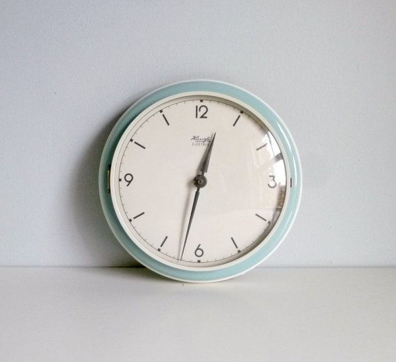 mid century modern kitchen wall clock duck egg blue kienzle germany by mungoandmidge - Designer Kitchen Wall Clocks