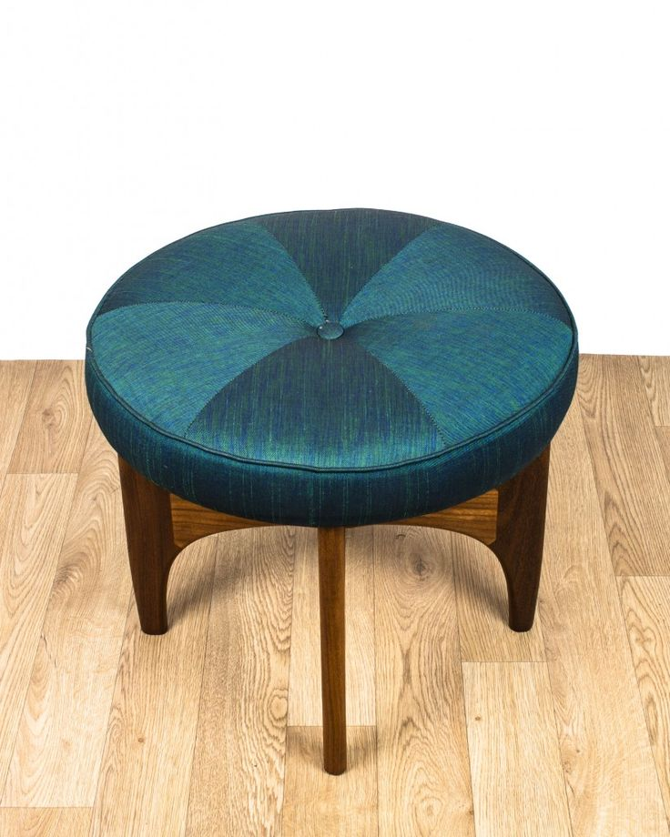 G Plan Dressing Table Piano Stool Teak & Fabric Mid Century – Teal with Button - £125