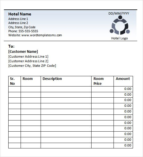 blank hotel receipt books