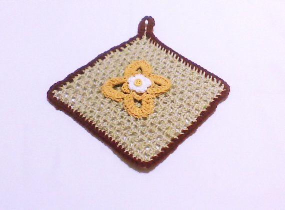 Flower Crochet pot holder Crocheted pot holder by HandmadeTrend, $13.00