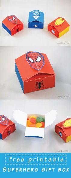 Free Printable Superhero Giftbox template. Just dowload and assemble.