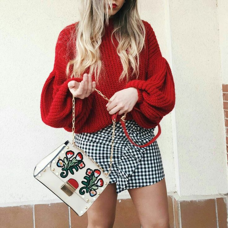 Red is the must have season colour for autumn and I am loving the red in this handbag to match with the jumper and pairing it with the ruffled dog tooth skirt is so cute! I'd have to wear with tights though for autumn!
