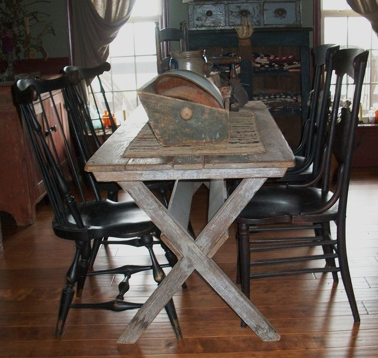 Primitive Kitchen Table And Chairs: 188 Best ~EARLY CHAIRS & SAWBUCK TABLES~ Images On