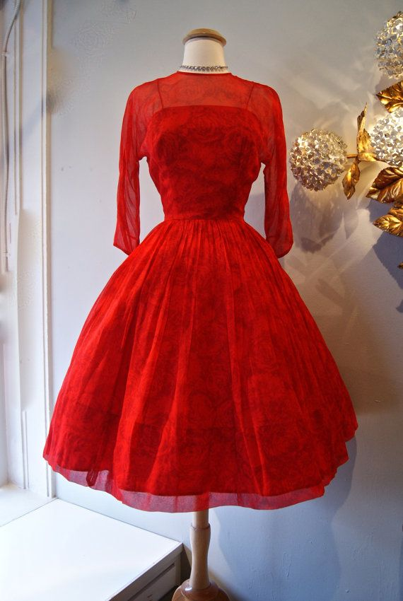 50s Valentines Dress // 50s Cocktail Dress // by xtabayvintage, $298.00