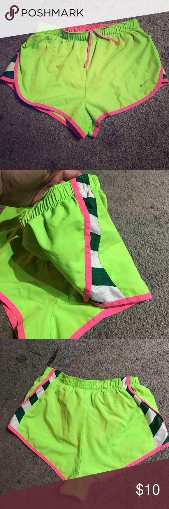 Women's XS Nike DRI-FIT athletic shorts Neon green Never worn super cute bright neon green with pink trim Nike shorts Nike Shorts