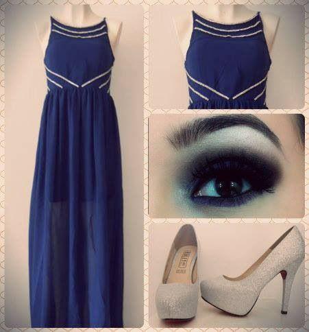 Vestido azul accesorios plata  #outfit #briana #boda #graduaciones