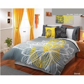 gray yellow bedding. Guest room.