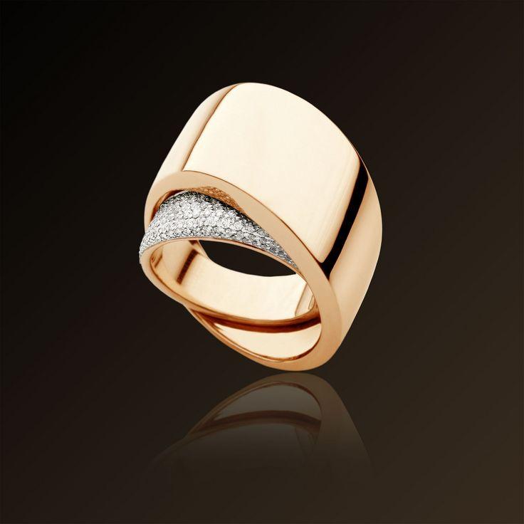 Tourbillon - Vhernier, Ring in white gold, rose gold and diamonds. Made in Italy