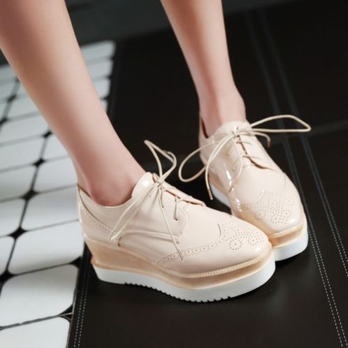Fashion Women Wedge Heels Patent Leather Lace Up Platform Creepers Sneakers Shoe in Clothing, Shoes & Accessories, Women's Shoes, Athletic | eBay