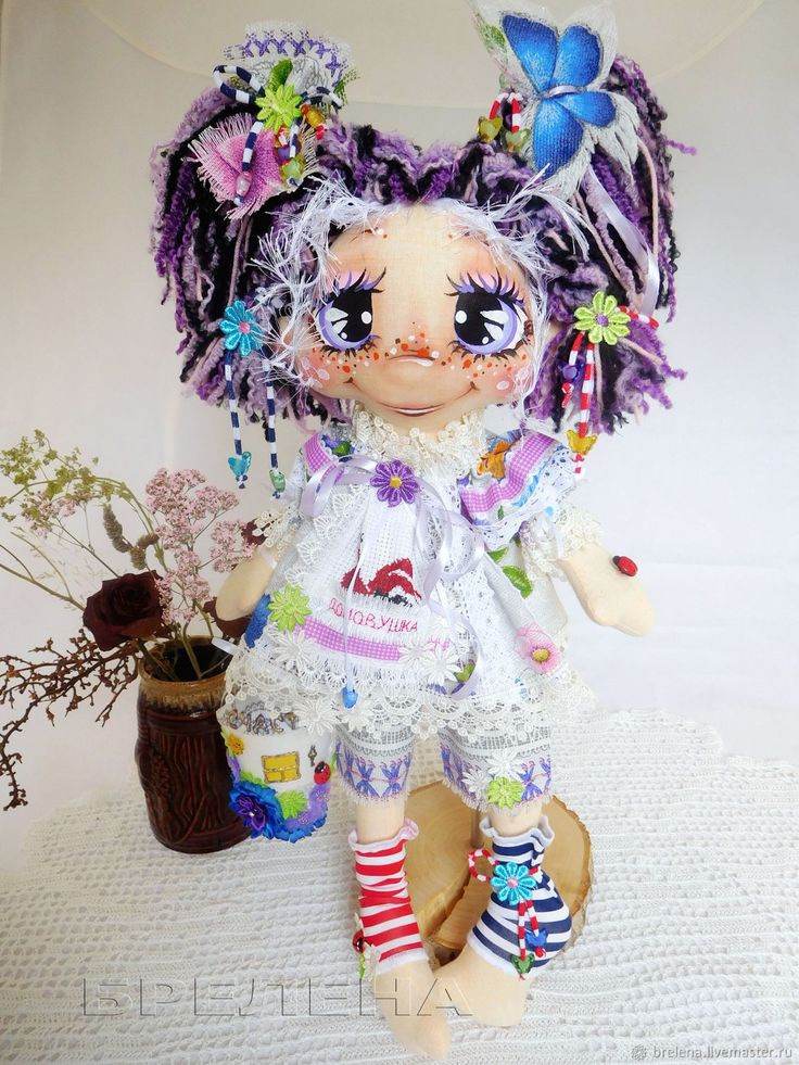 Купить Текстильная кукла Домовушка Ксюшка Сиреневые глазки 2 в интернет магазине на Ярмарке Мастеров