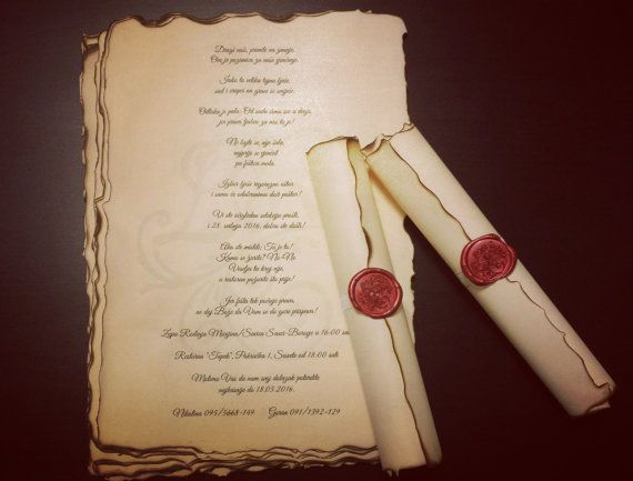 vintage wedding scroll invitation handmade with wax seal stamp 10