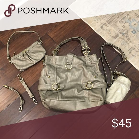 Timi & Leslie Diaper Bag Pewter diaper bag that looks like a purse. Includes the bottle holder, small clutch, longer strap, stroller straps. In excellent condition. Timi & Leslie Bags Baby Bags
