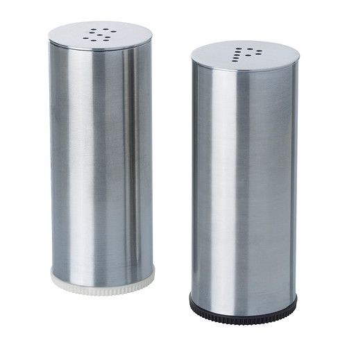 PLATS  Salt & pepper shaker, set of 2, stainless steel, can be purchased at ikea.com for $3.99.  This is a great way to store loose glitter.  You can add labels to the front of these shakers too.