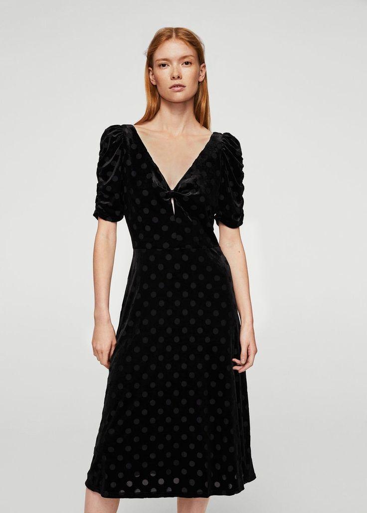 Polka dots velvet dress | MANGO. Swiss dot in the best way possible.