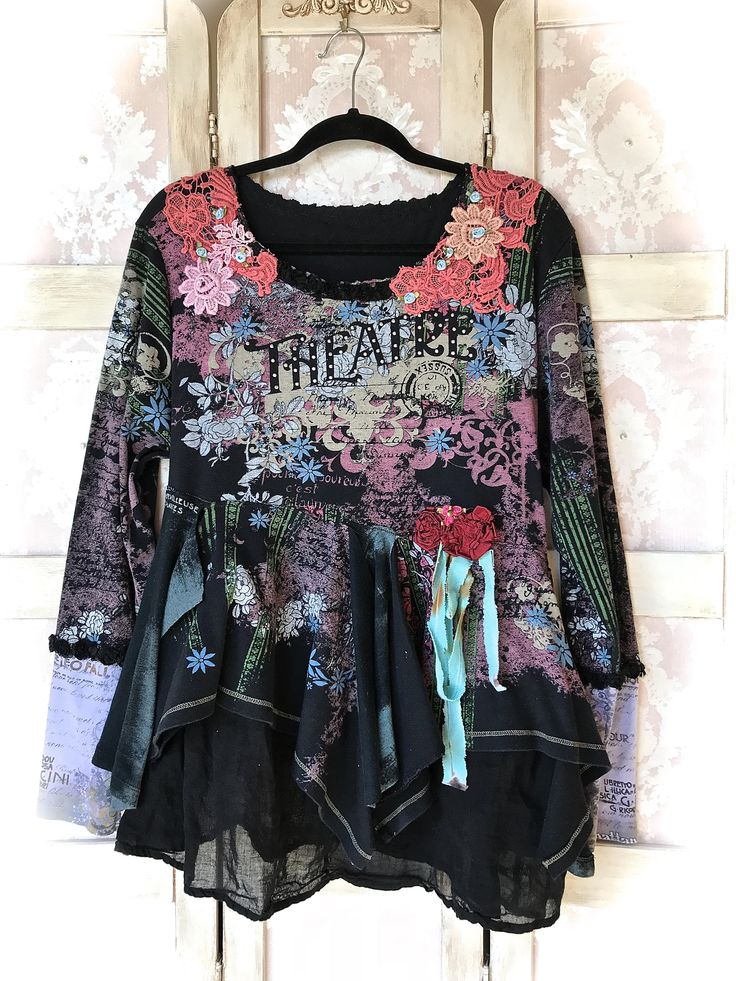 Dramatic Romantic Theatre CollageTop Layered Raggedy Wings Top Size X Large by IzzyRoo on Etsy
