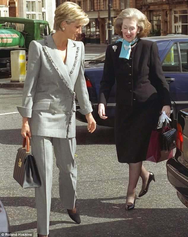 Affectionate: Princess Diana and her stepmother Raine Spencer lunch together at the Connaught Hotel in Mayfair