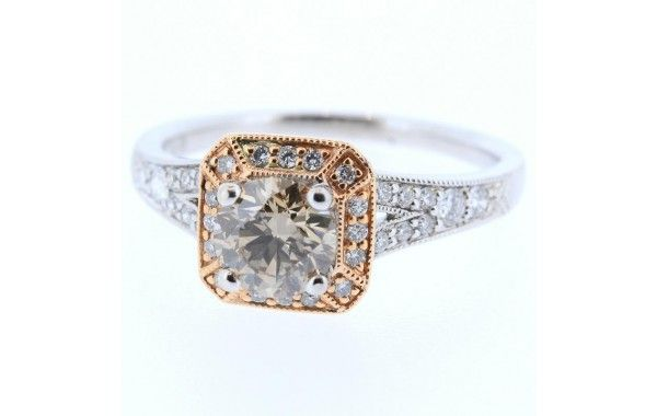 18ct white and rose gold diamond ring, featuring a centre champagne diamond.