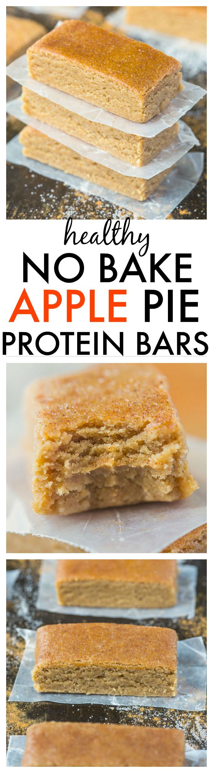 Healthy No Bake Apple Pie Protein Bars-Just 10 minutes and 1 bowl to whip these up- Soft, chewy and no refrigeration needed- They taste like dessert! {vegan, gluten free, refined sugar free + paleo option!}