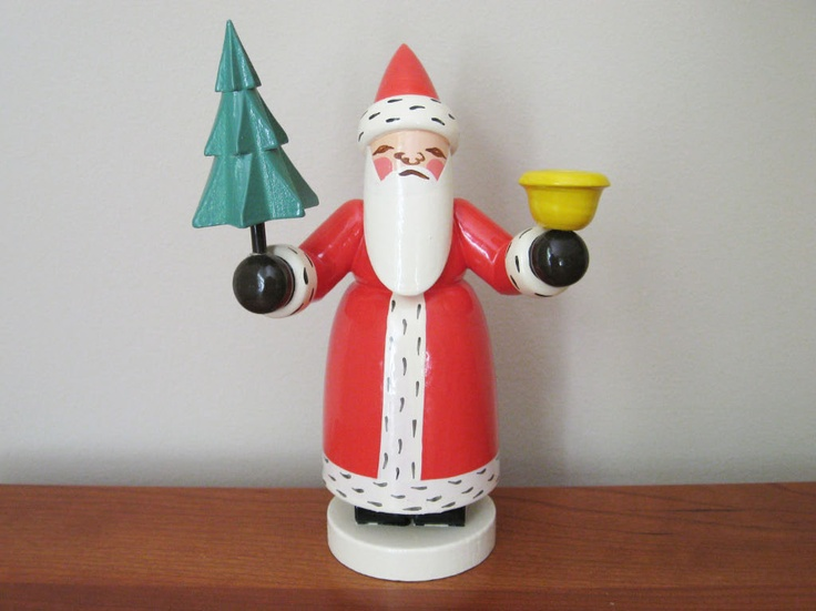 Vintage East German Wood Santa Original Tag Erzgebirgische Volkskunst Expertic Christmas Folk Art Santa Candle Holder Decor Decoration