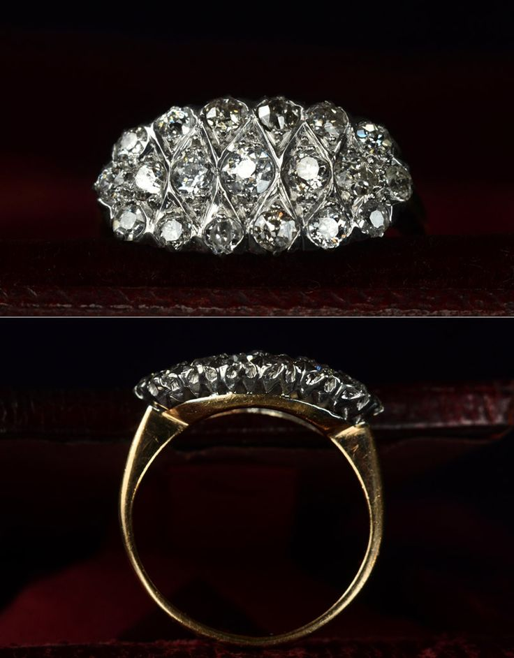 erie basin 1900-10s Edwardian Oval Cluster Ring, European Cut DiamondsPlatinum and 14K Yellow Gold