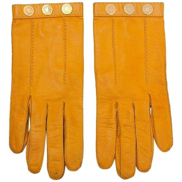 Preowned Hermes Leather And Gilt Metal Gloves ($165) ❤ liked on Polyvore featuring accessories, gloves, multiple, orange leather gloves, leather gloves, real leather gloves, studded leather gloves and vintage gloves