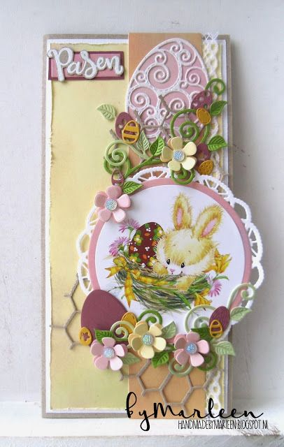 Handmade Easter card by DT member Marleen with Collectables Easter Eggs (COL1425), Craftables Basic Round (CR1331), Punch Die Eggs (CR1399), Chicken-wire (CR1401), Creatables Flower Doily (LR0388) and Swirls & Leave (LR0414) from Marianne Design)