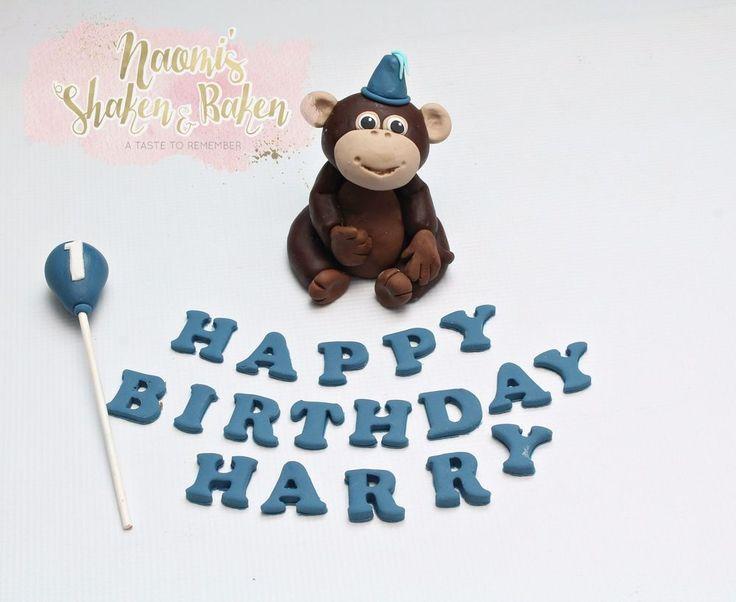Edible Birthday Monkey with Balloon & Wording Fondant Cake Topper Set 8-11cm #Birthday