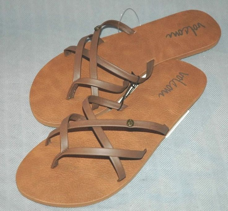 New Volcom Womens Brown Strap Sandals Size 7 9 From Active Store (NWT Flip Flop #RivalMadness