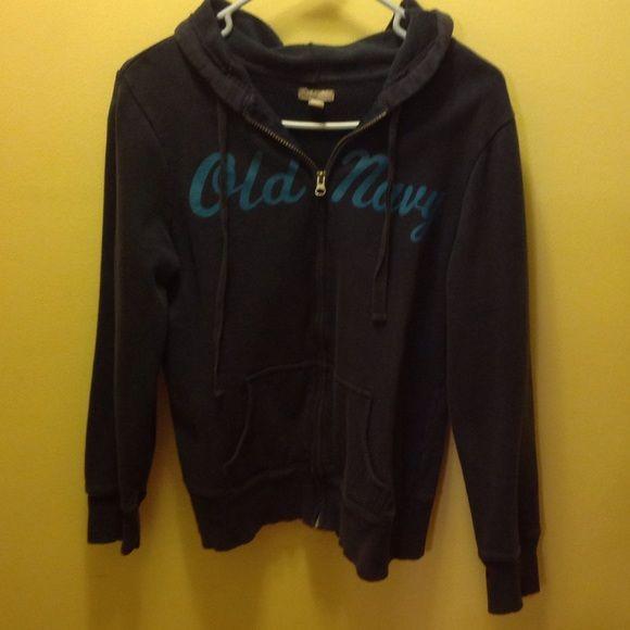 Old navy zip up hoodie-large Womens dark blue old navy zip up hoodie. Size large. Pre loved, some fading but in good shape. Old Navy Tops Sweatshirts & Hoodies