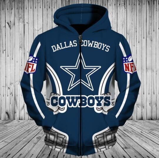 new products f6659 e4b81 Low Price NFL Football Dallas Cowboys 3D Hoodie With Zipper ...