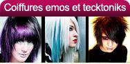 Coiffures et coupes EMO Girls personnalisées pour caractère tecktonik, rebelle et original