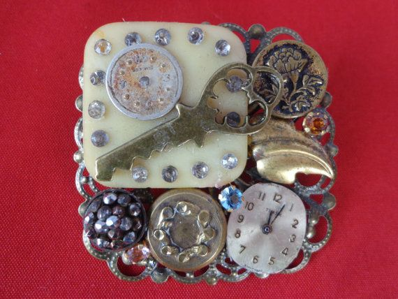 Steam Punk Brooch Made from Watch Parts and by PipersEmporium, $20.00