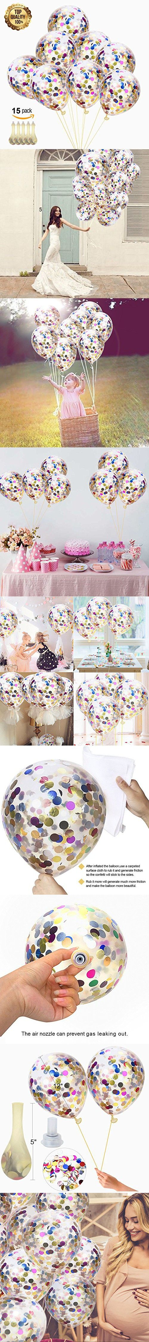 Confetti Balloons 12 Latex Round - Colorful Paper Balloons - Multicolor Confetti Dots Filled Clear Balloons for Birthday Party Christmas Wedding Decorations Holiday and Events Proposal (Pack of 15)