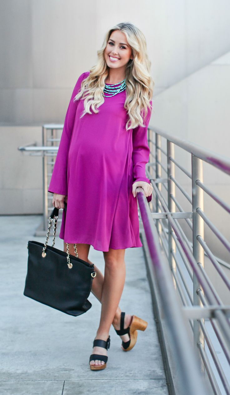 1287 best maternity images on pinterest maternity fashion magenta chiffon bell sleeve maternity dress ombrellifo Image collections