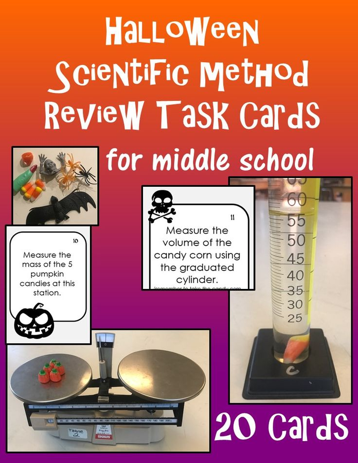 Want to do something fun with your middle schoolers on Halloween? THIS IS IT!  Review the scientific method and measuring with metric tools with 20 task cards with a Halloween theme.
