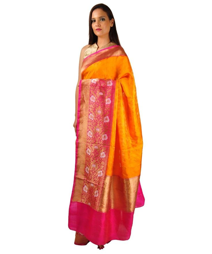 Orange Shot and Rani Pink Gold Zari Banarasi Pure Silk Saree