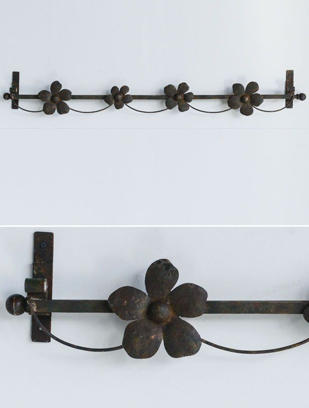 Floral Distressed Curtain Rod Curtain Rods Curtains With Blinds