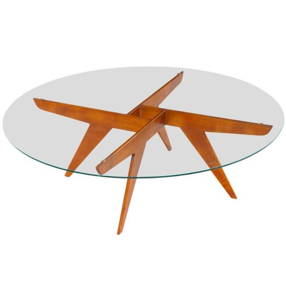 Gio Ponti; Wood and Glass Coffee Table from the Ponti Residence, 1950s.