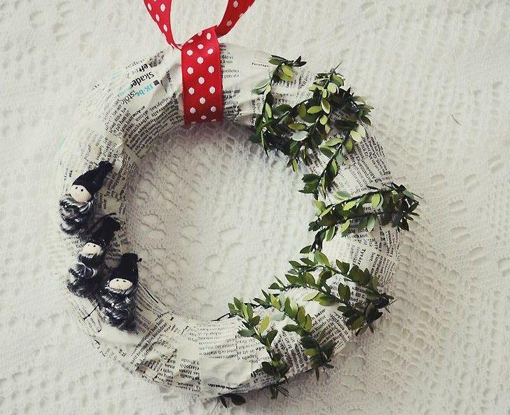 dorrkrans-krans-julkrans-tidning-tidningspapper-papper-papperspyssel-pyssel-pyssla-decopage-lim-tomtar-dekoration-inspiration-jul-handarbete...