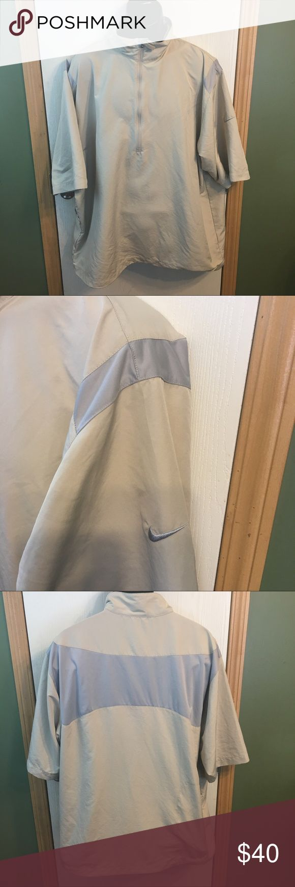 Nike Golf 1/2 Zip Pullover Windbreaker Size XXL This is a men's Nike Golf 1/2 Zip Tan Pullover Size XXL. This pullover is In excellent gently used condition with no visible defects. Please take a look at all photos for condition and if you have any questions feel free to ask. Nike Jackets & Coats Windbreakers