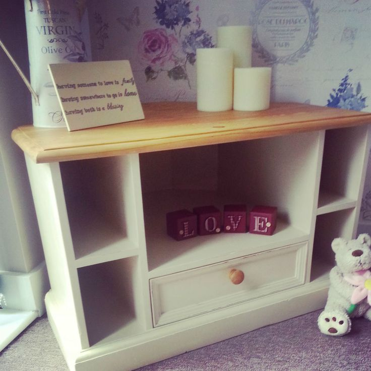 Shabby Chic Solid Pine Corner TV UNIT / CABINET. Painted with Annie Sloan chalk paint.