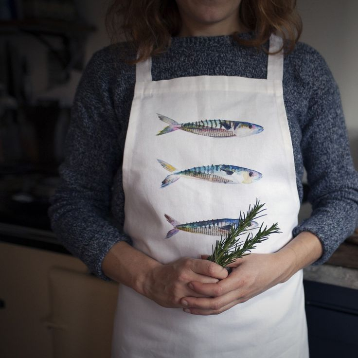 My new Mackerel aprons have arrived! Digitally printed with original Sarah Dowling 'Mackerel' watercolour illustration, 100% cotton #illustrations #watercolours #aprons #homeware #kitchenware #linen #mackerel #fish #seaside #cooking #cookery