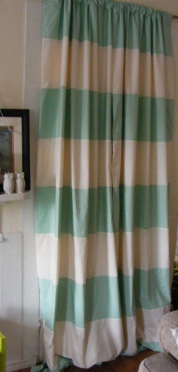 Baby Bedding Drapery Nursery Curtain Panels Mint and Cream Fully Lined any color choice on Etsy, $155.00
