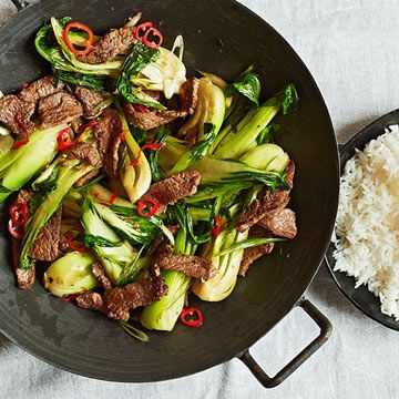 Beef-and-Bok-Choy Stir-Fry - Fitnessmagazine.com  350 calories per serving. Skip the rice to reduce calories & carbs.