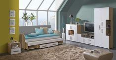 Studentský nábytek, dětský pokoj KATAR 1 san reno / bílá / capucino