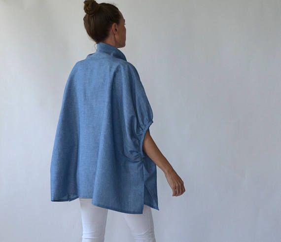 Шамбре льняной туники / постельное белье топ / плюс Размер белье / материнства