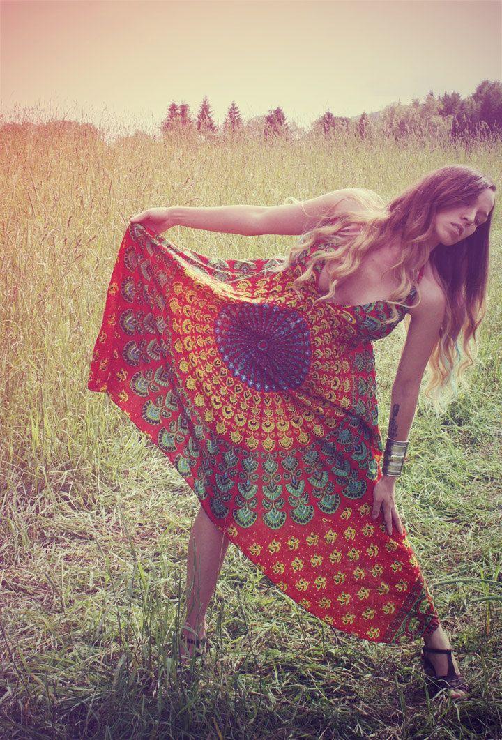 Handmade Hippie Dress, NEW LENGTH, Festival Dress, Short Summer Dress, Bohemian, Aztec, Peacock, Bridesmaid, Maternity, Festival. $38.00, via Etsy.