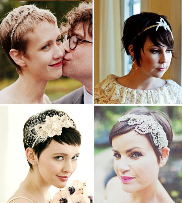 Brides with short hair benefit from getting to play dress up with jewels and fascinators, which is great for 2013! (Why? A lot of brides are opting for lavish 1920s themes. Think Great Gatsby and flappers!)