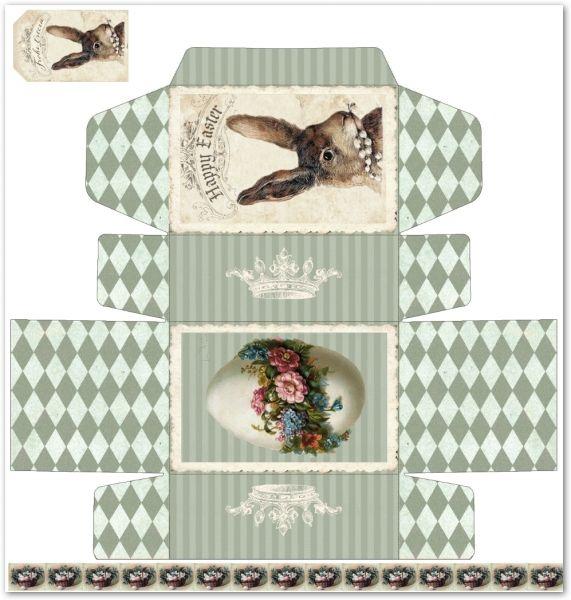 Easter box printie - vintage shabby - Easter vunny - Victorian egg