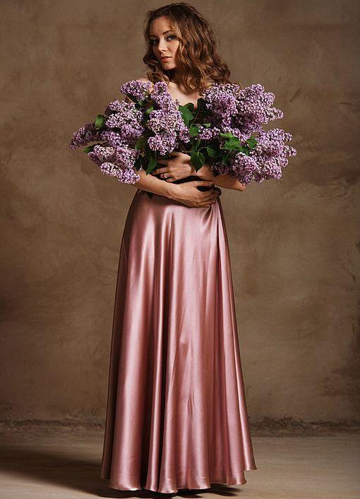 Длинная шёлковая юбка на запах
